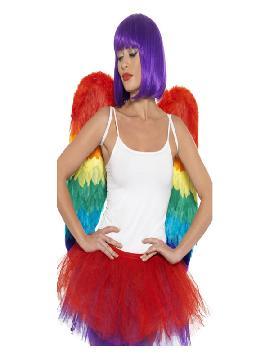 alas de plumas multicolor para adulto 60x60 cm