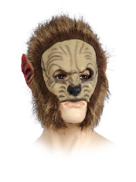 mascara de leon con pelo media cara de plastico