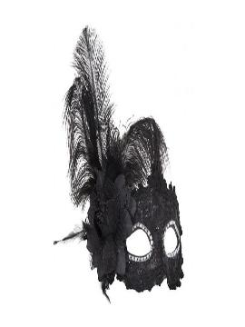 antifaz negro de encaje con flor