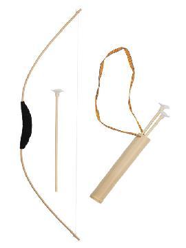 arco de madera con 3 flechas con carcaj 70 cm