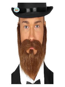 barba y bigote castaña con goma elastica
