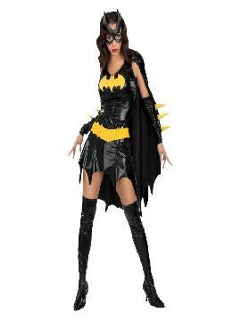 disfraz de batman heroína mujer adulto. Con este original traje de Batgirl podrás buscar a Batman para perseguir a los malvados de la ciudad. No dejarás a nadie vestida de superhéroes de marvel. Este disfraz es ideal para tus fiestas temáticas de disfraces de superhéroes y comic para mujer adultos.