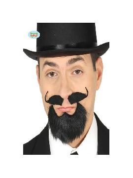 bigote y perilla negra con adhesivo
