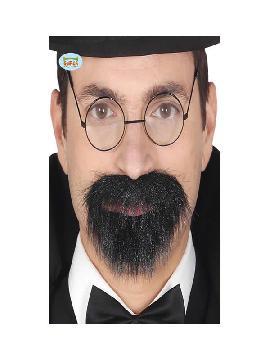 bigote y perilla negra con adhesivo adulto