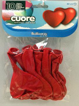 bolsa 10 globos de corazones rojos 80 cm