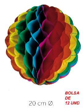bolsa 12 unidades faroles colores 20 cm