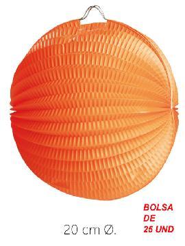bolsa 25 unidades de faroles naranjas 20 cm