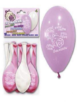 bolsa de 10 globos es una niña
