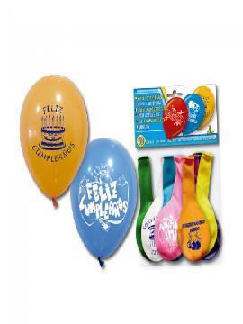 bolsa de 10 globos feliz cumple surtidos