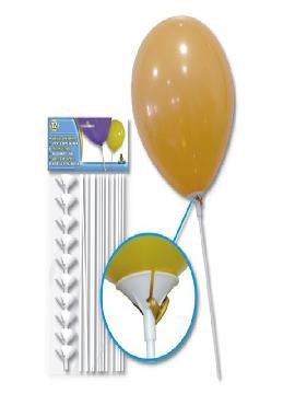 bolsa de 12 barillas para globos con soporte. Comprar globos baratos. Ideal para decoraciones de festivales en grupos, colegios o cumpleaños.  Contiene: 12 varillas de 36 cm. con soporte.