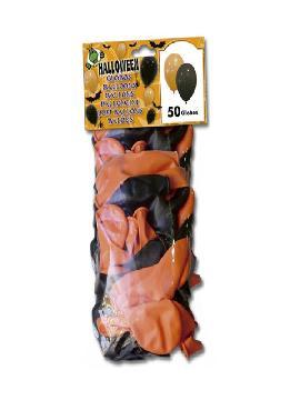 bolsa de 50 globos negros y naranjas halloween