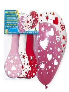 bolsa de 8 globos corazones surtidos