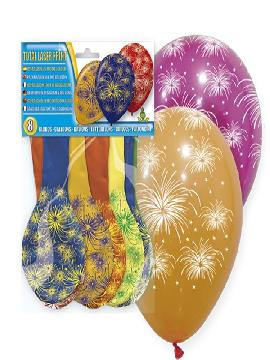 bolsa de 8 globos fuegos artificiales surtidos
