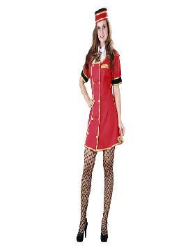 disfraz de botones adulto para mujer. Con este elegante y sensual traje de Azafata rojo para mujer causarás sensación en hoteles, en Despedidas de Soltera, Fiestas de Disfraces o en Carnaval.Este disfraz es ideal para tus fiestas temáticas de disfraces de uniformes de trabajo y deporte para mujer adultos.