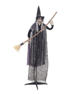 bruja gigante con escoba y peana 125x183cm