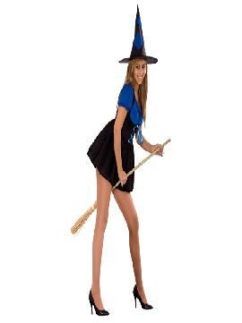 disfraz de bruja azul sexy para mujer. Comprar traje de Bruja con vestido azul y negro para mujer no pasarás desapercibida en Halloween, Fiestas de Disfraces o Carnavales.Este disfraz es ideal para tus fiestas temáticas de disfraces brujas y miedo para mujer adulto.