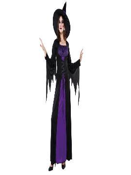 disfraz bruja purpura con vestido adulto para mujer. Con ese bonito traje de Bruja purpura para mujer hechizarás a todos con tu belleza en Despedidas de Soltera, Fiestas de Disfraces o Carnavales.Este disfraz es ideal para tus fiestas temáticas de disfraces de bruja y miedo para mujer adultos.