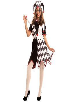 disfraz de bufón con vestido adulto mujer.El vestido es de licra con dos tonos negro y blanco muy comodo es amplio por dar algo mas de talla de lo normal.Este disfraz es ideal para tus fiestas temáticas de disfraces de payasos del circo,bufones y arlequines para mujer adultos.