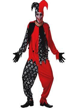 disfraz bufon rojo y negro hombre adulto para hombre. Con este terrorífico disfraz de traje de la Muerte para hombre formarás parte del  circo siniestro. Es ideal para la noche de Halloween o fiestas de terror en Carnaval.Este disfraz es ideal para tus fiestas temáticas de disfraces bufones y miedo para hombre adultos.