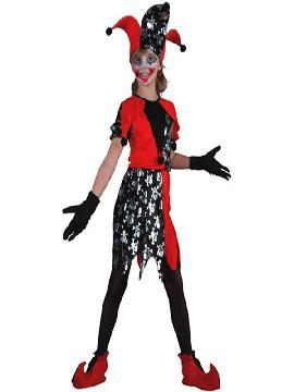 disfraz bufon rojo y negro de niña varias tallas.este terrorífico disfraz de bufón de la muerte para niña formarás parte del circo siniestro.Este disfraz es ideal para tus fiestas temáticas de disfraces de bufones y miedo para niñas infantiles.
