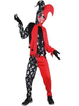 disfraz de bufon para niño. Este terrorífico traje de bufón de la muerte para niño formarás parte del circo siniestro.Este disfraz es ideal para tus fiestas temáticas de disfraces de miedo y bufones para niños.