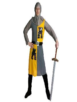 disfraz de caballero medieval gris y amarillo adulto hombre. El caballero esta confencionado con una tunica de franela fina y mangas verdugo en lycra brillante.Este disfraz es ideal para tus fiestas temáticas de disfraces epoca y medievales para la edad media de hombre adultos.