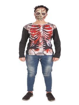 camisa de esqueleto para hombre