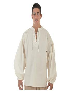 camisa medieval beige para hombre