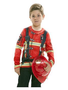camiseta disfraz bombero o bombera para niño