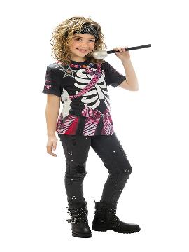 camiseta disfraz esqueleto rockstar niña