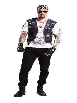 camiseta disfraz motero para hombre