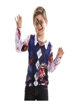 camiseta disfraz zombie para niño