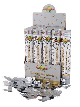 cañon confetis plata 50 cm para celebraciones