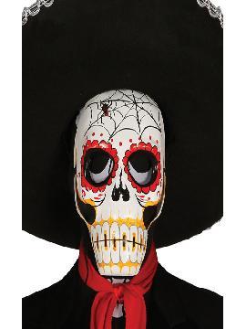 careta de esqueleto catrina con araña de papel mache