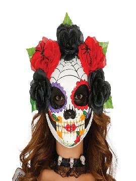 careta de esqueleto catrina con flores de papel mache