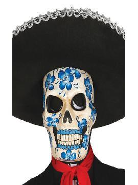 careta de esqueleto flores de papel mache