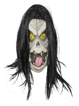 mascara goblin de latex con pelo lacio largo