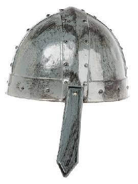 casco cruzado medieval en plata envejecida
