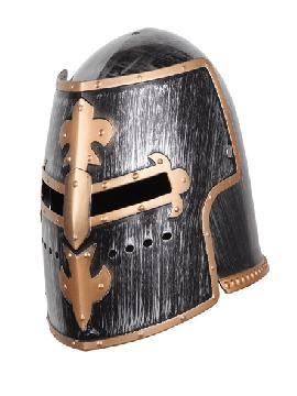 casco cruzado medieval plastico con abertura