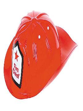 casco de bombero rojo plastico
