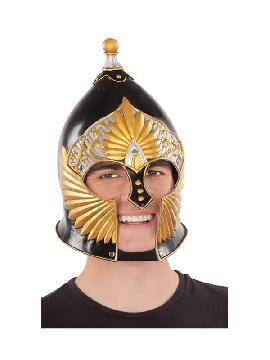 casco de caballero medieval negro dorado 57/59 cm