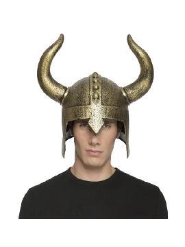 casco de vikingo con cuernos color dorados