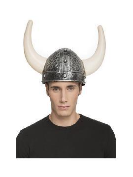casco de vikingo con cuernos color plateado