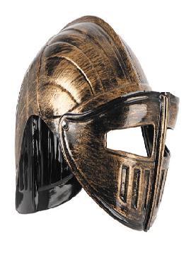 casco gladiador oro viejo con mirilla articulada