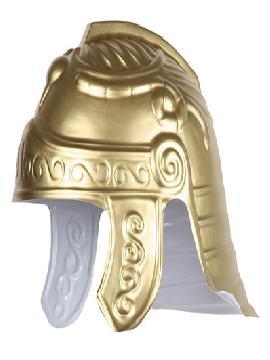 casco guerrero romano dorado plastico rigido