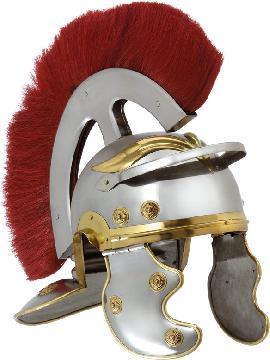 casco romano con cresta de metal