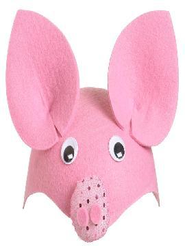 casquete de cerdito rosa fieltro