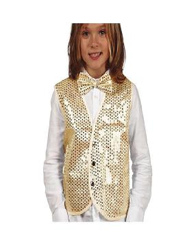 chaleco de lentejuelas oro para niño