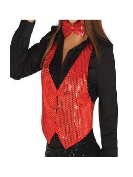 chaleco de lentejuelas rojo mujer