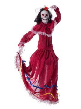colgante de esqueleto mexicana con luz sonido y movimiento